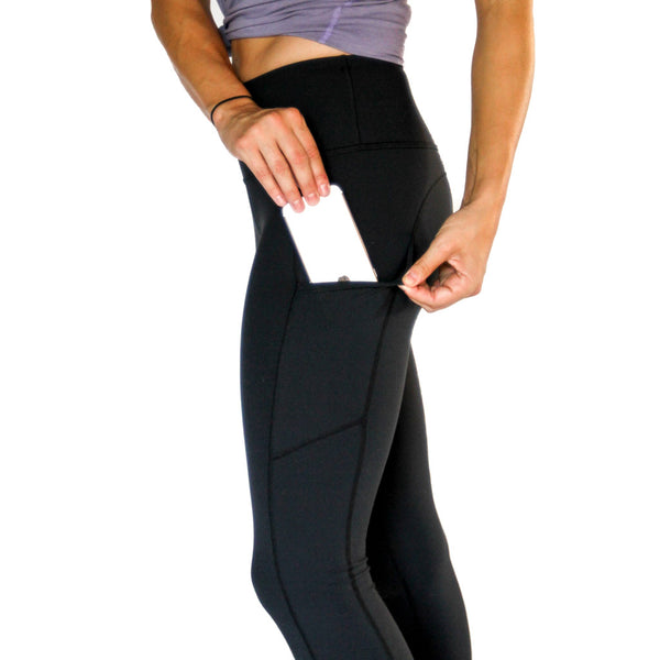 All Day Legging Black - High Rise w/ Side Pockets