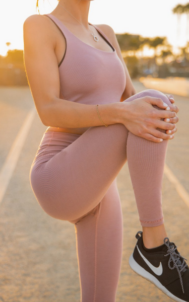 7/8 Rise Up Leggings - Ribbed Fabric, Rose Clay