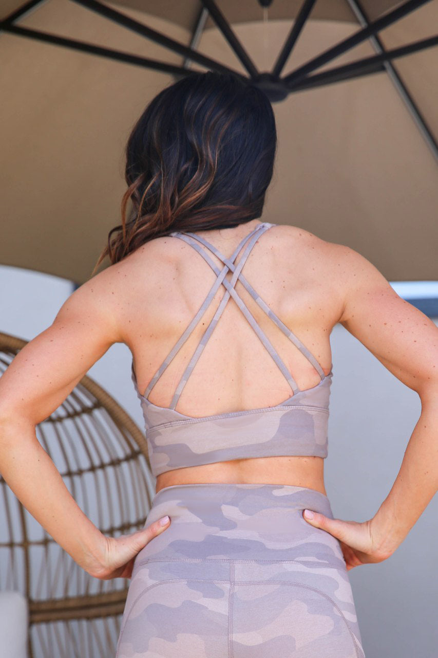 Cross Back Bra - Long Line, Sand Camo, PaleOMG