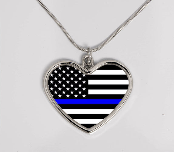 Thin Line - Large Heart Necklace Horizontal Flag