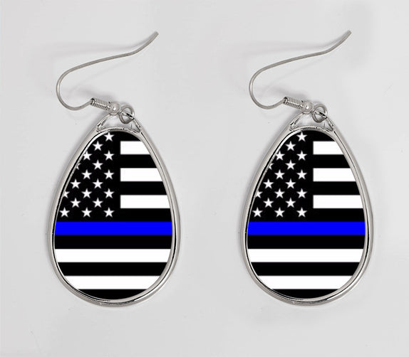 Thin Line - Earrings Ellipse Horizontal Flag