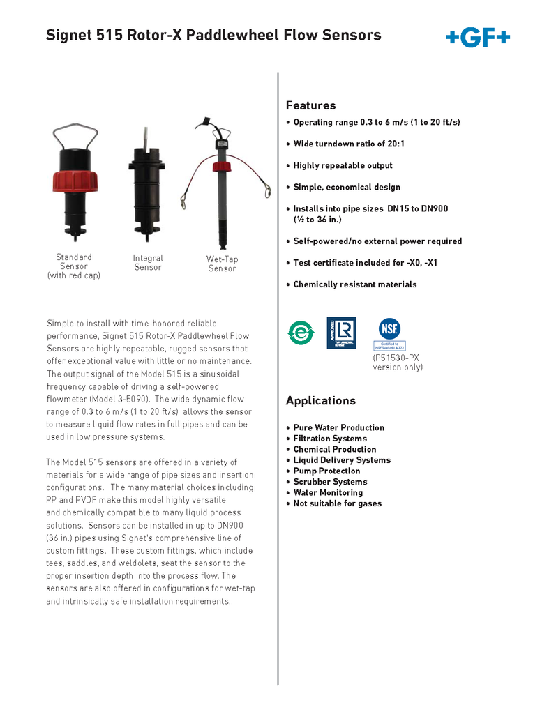 +GF+ Signet 515 Rotor-X Paddlewheel Flow Sensors - Data Sheet (Rev. M)