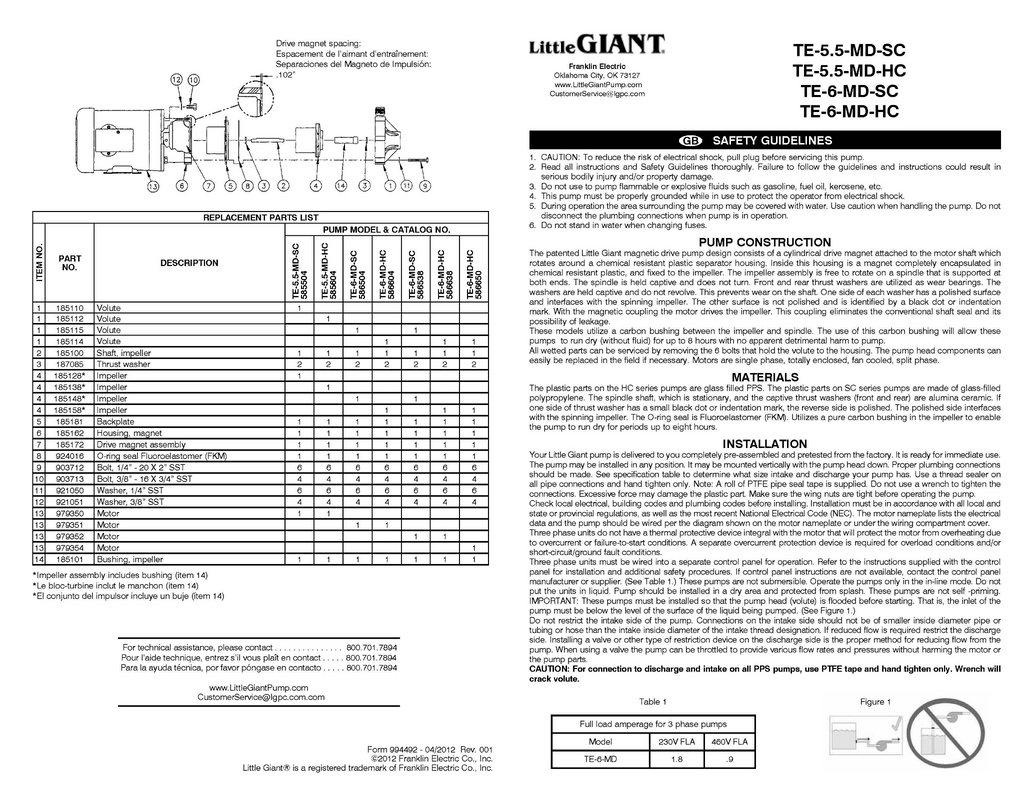 Little Giant Installation Manual (TE-5.5-MD-HC, TE-5.5-MD-SC, TE-6-MD-HC, TE-6-MD-SC)
