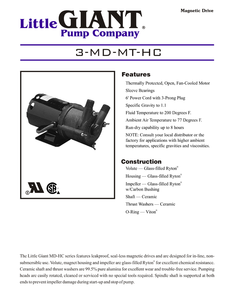 Little Giant Technical Specifications (3-MD-MT-HC)