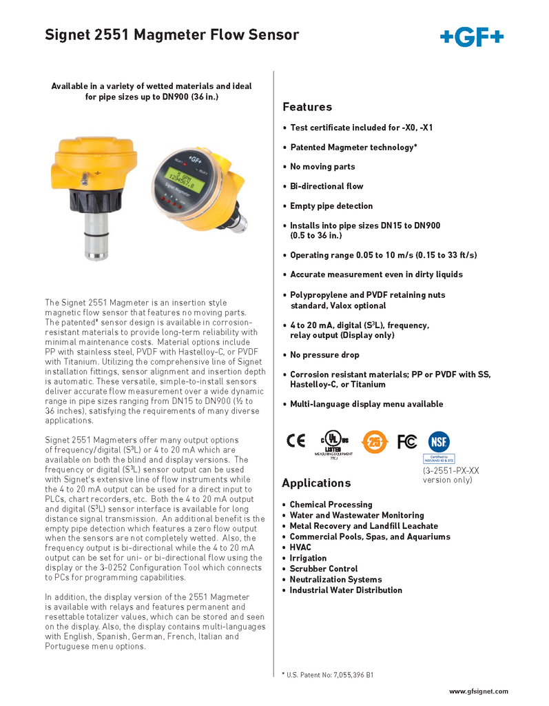 +GF+ Signet 2551 Magmeter Flow Sensor - Data Sheet (Rev. J)