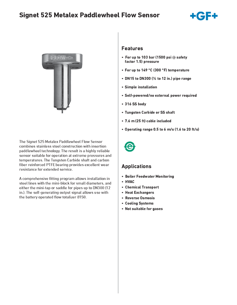 +GF+ Signet 525 Metalex Paddlewheel Flow Sensor - Data Sheet (Rev. G)