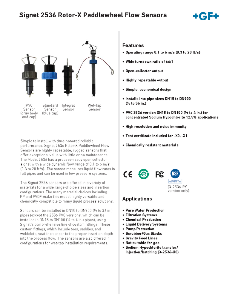+GF+ Signet 2536 Rotor-X Paddlewheel Flow Sensors - Data Sheet (Rev. L)
