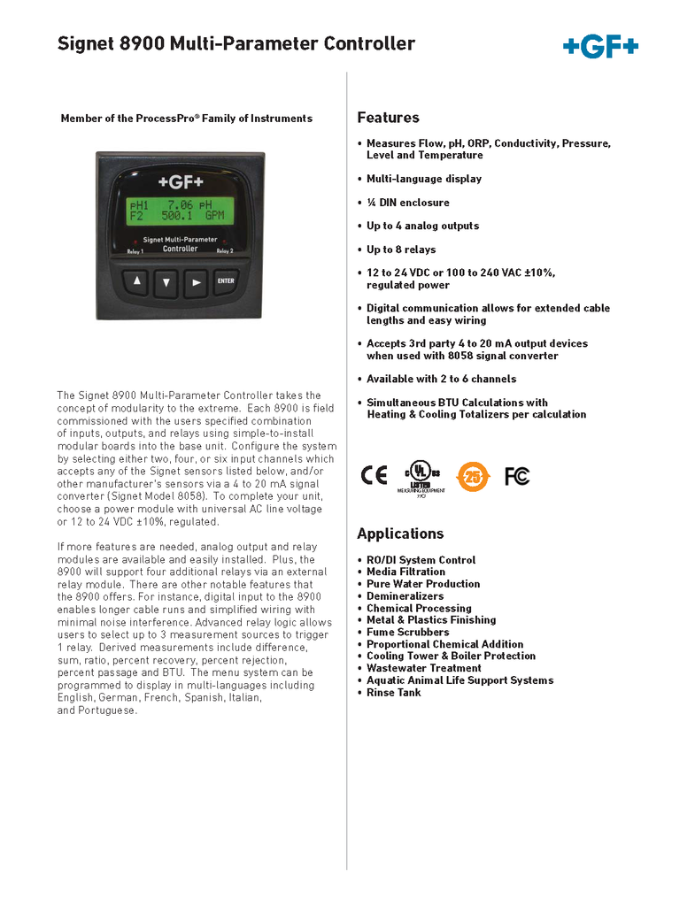+GF+ Signet 8900 Multi-Parameter Controller - Data Sheet (Rev. F)