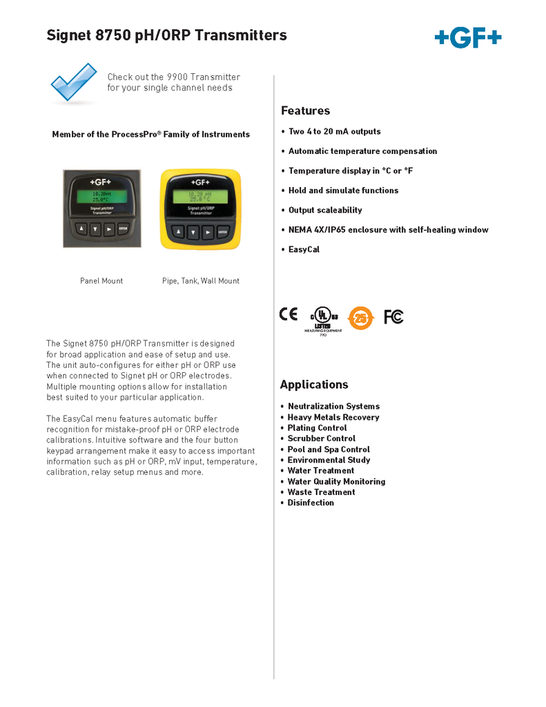 +GF+ Signet 8750 pH/ORP Transmitters - Data Sheet (Rev. F)