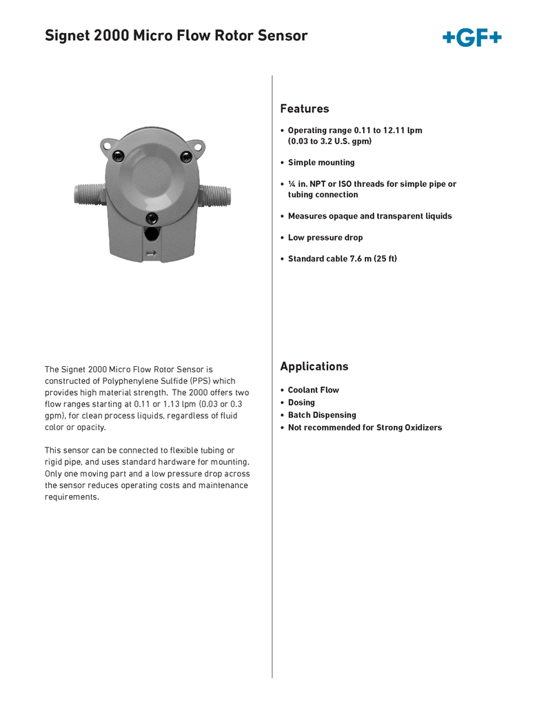 +GF+ Signet 2000 Micro Flow Rotor Sensor - Data Sheet (Rev. G)