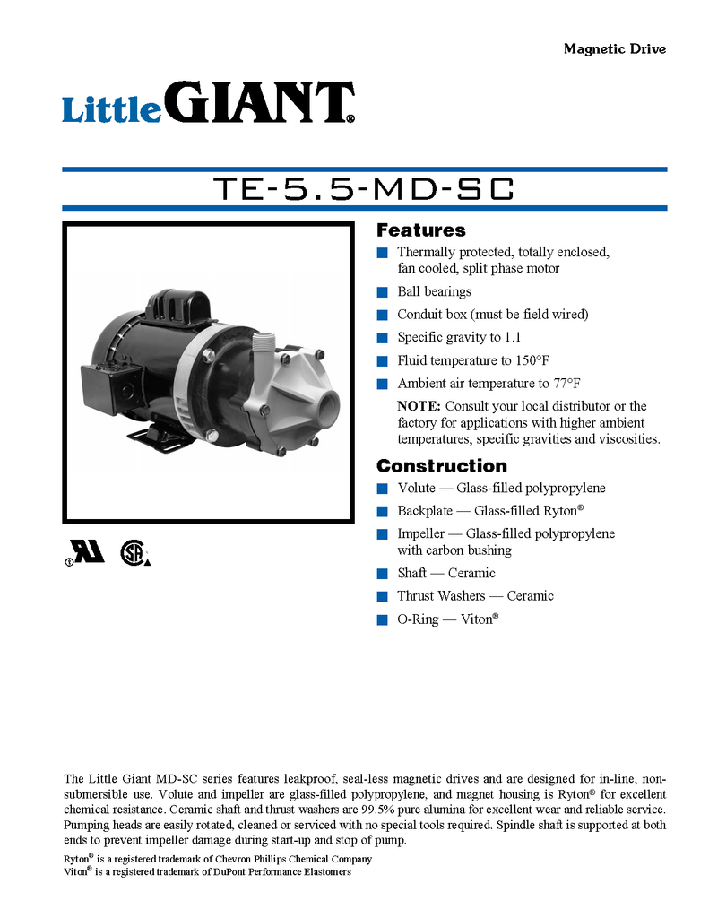 Little Giant Technical Specifications (TE-5.5-MD-SC)