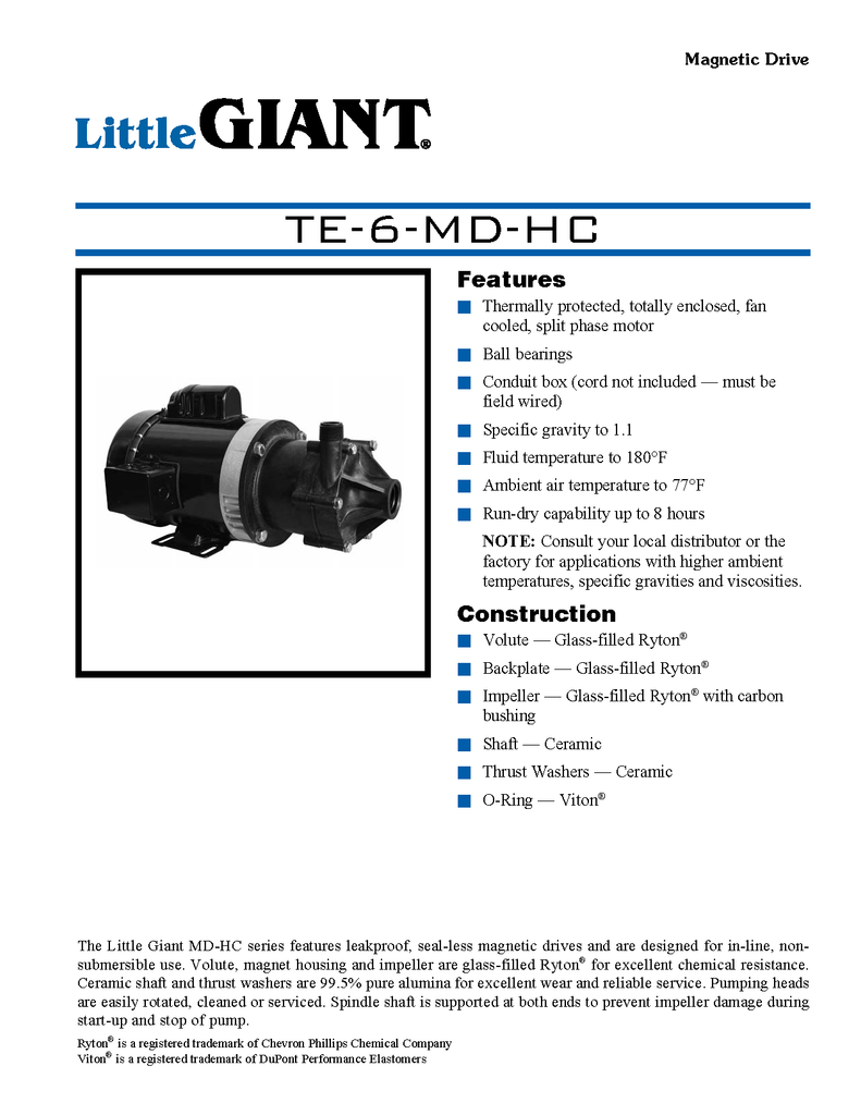 Little Giant Technical Specifications (TE-6-MD-HC)