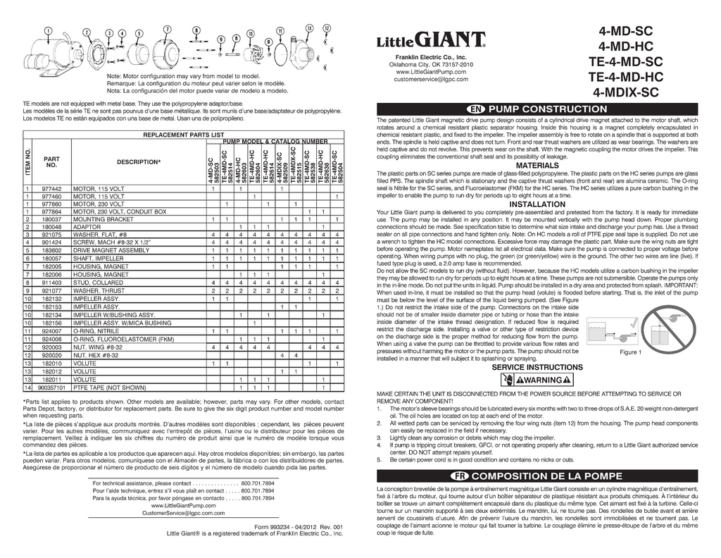 Little Giant Installation Manual (4-MD-SC, 4-MD-HC, TE-4-MD-SC, TE-4-MD-HC, 4-MDIX-SC)