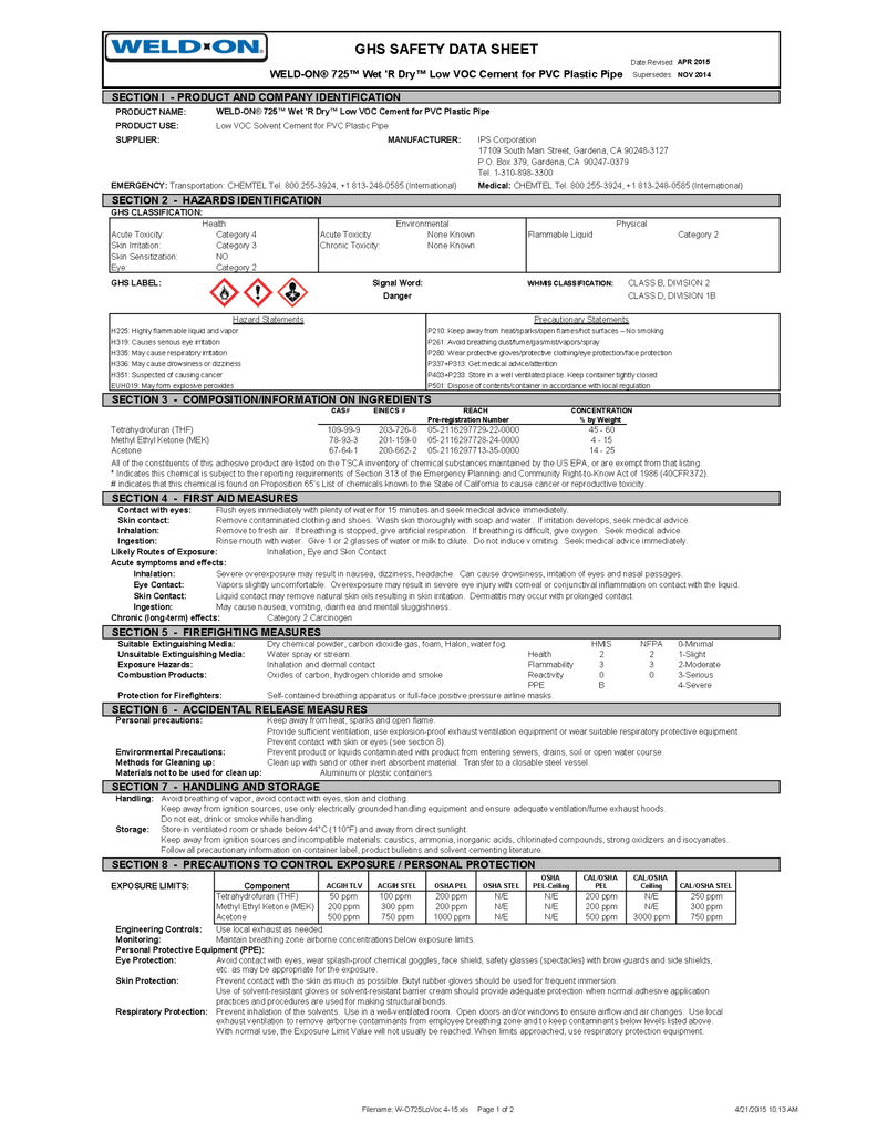 Weld-On Safety Data Sheet (725 Wet 'R Dry Low VOC PVC Cement)