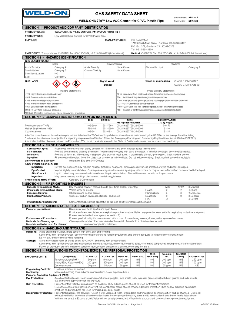 Weld-On Safety Data Sheet (729 Low VOC CPVC Cement)