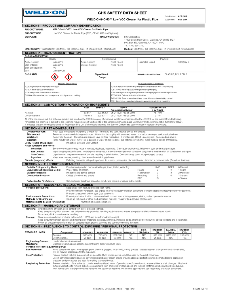 Weld-On Safety Data Sheet (C-65 Low VOC Cleaner)