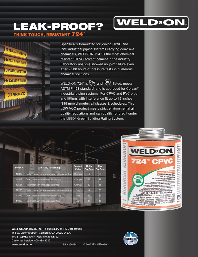Weld-On Product Sell Sheet (724 Low VOC CPVC Cement)