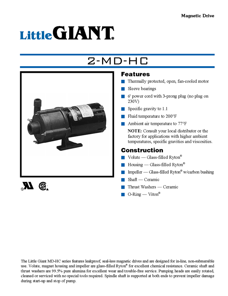 Little Giant Technical Specifications (2-MD-HC)
