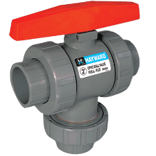 "Hayward TW Series Three-Way True Union Ball Valves 1/2"" to 6"" PVC & CPVC - Process Flow Industrial Supply"