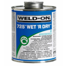 Weld-On 725 Wet 'R Dry, Low VOC PVC Solvent Cement, Medium Bodied, Fast Setting - Process Flow Industrial Supply