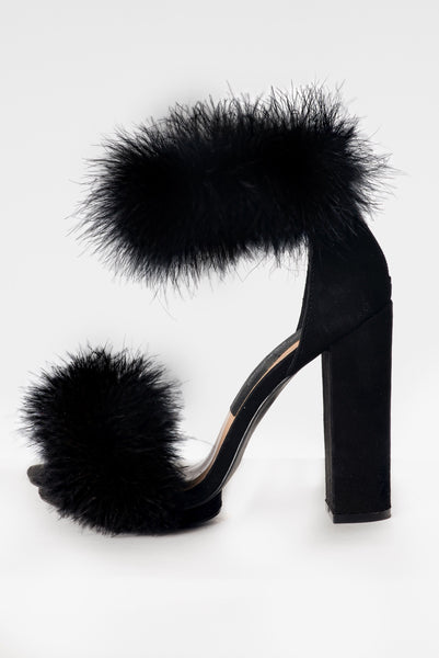 """Reloaded Onyx"" Fur Heels"