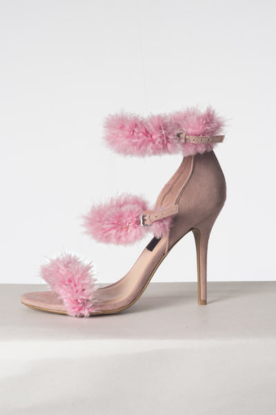 """Triple Blush"" Fur Heels"