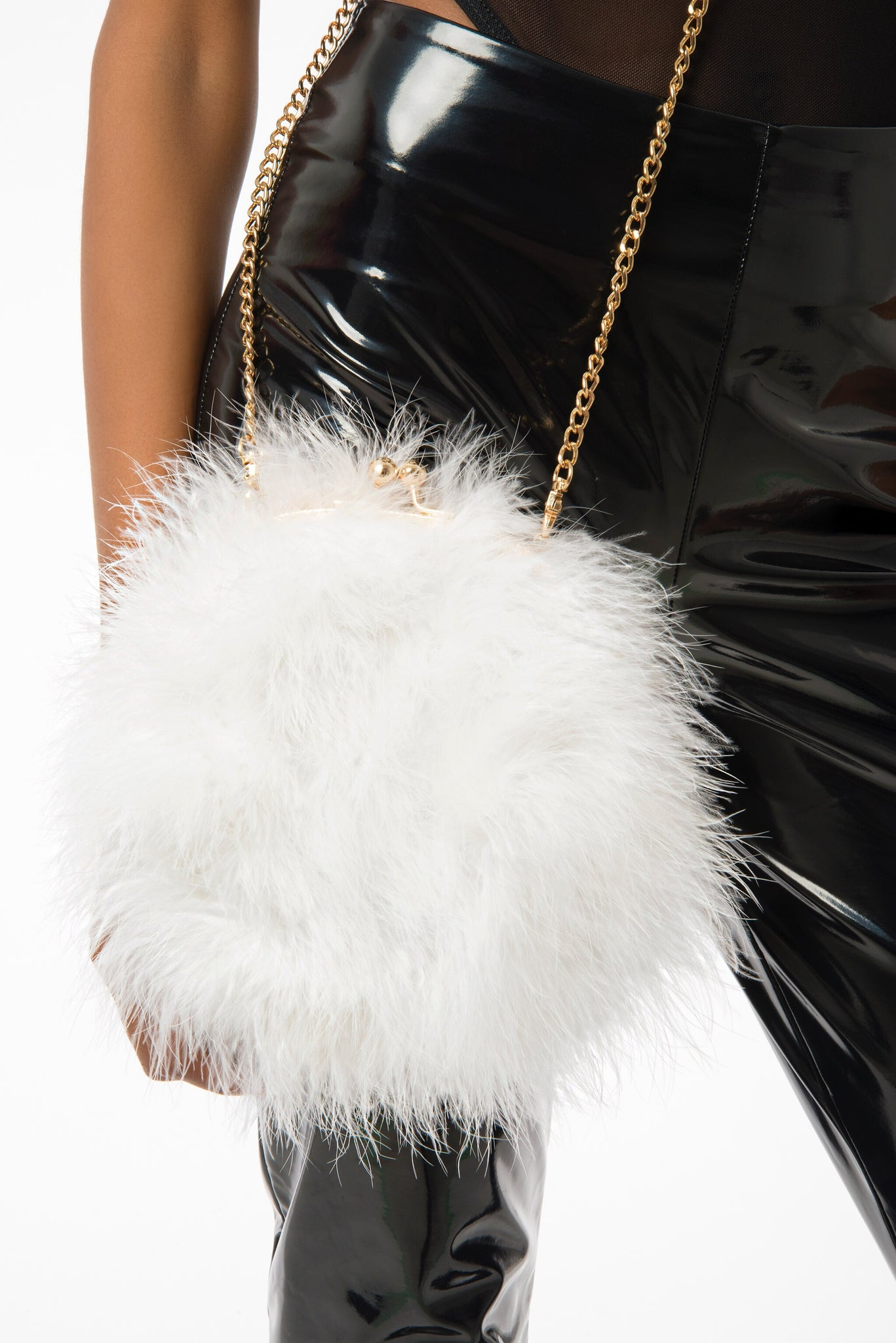 d0228993f9a Snow White Fur Clutch, Fluffy Purse with Gold Chain Cross-body ...