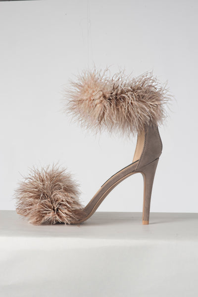 "Double Trouble ""Wild Taupe"" Fur Heels"