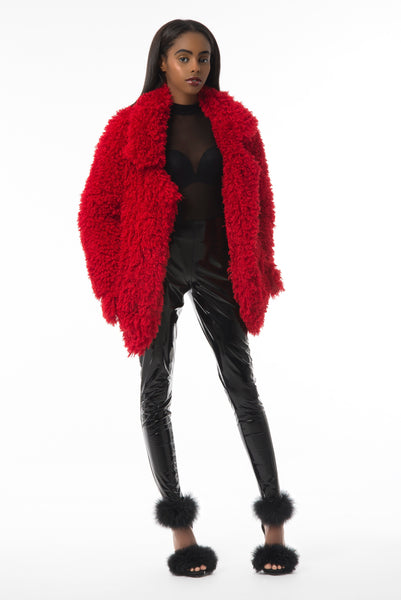 """Wild Rose"" Fur Coat [RED]"