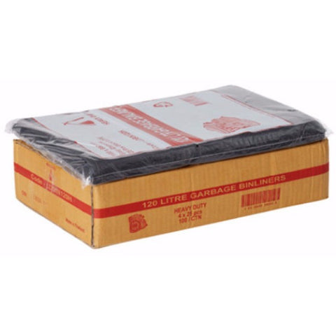 120L Black Bin Liners - 100 Bags - CBC Cleaning Products Pty Ltd.