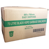 73L Black Bin Liners - High Density 500 Bags - CBC Cleaning Products Pty Ltd.