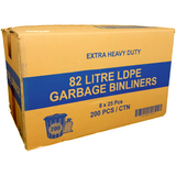 82L Black Bin Liners - Extra Heavy Duty 200 Bags - CBC Cleaning Products Pty Ltd.