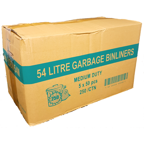 54L Black Bin Liners - 250 Bags - CBC Cleaning Products Pty Ltd.