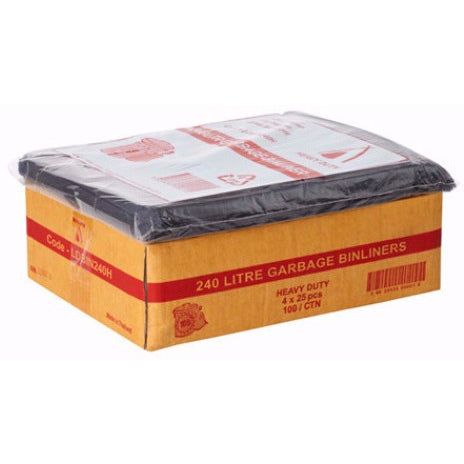 240L Black Bin Liners - 100 Bags - CBC Cleaning Products Pty Ltd.