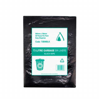 73L Black Bin Liners - High Density 50 Bags