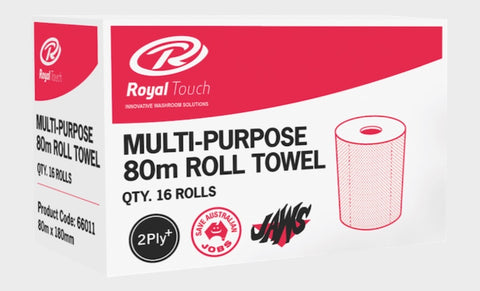 2 Ply 80m Hand Roll Paper Towels - Royal Touch