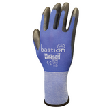 Blue Nylon Gloves Black with Polyurethane Coating