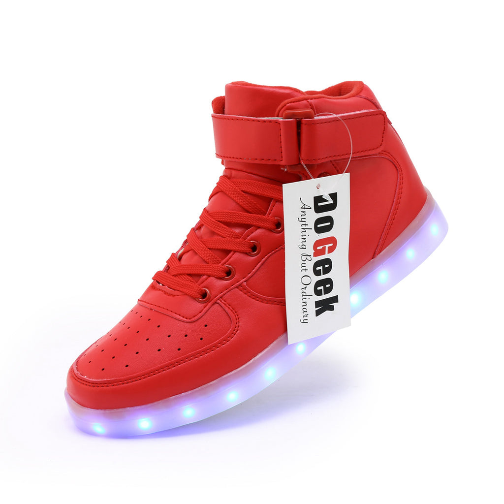 bdfeed5fc DoGeek Unisex Men Women High Top LED Light up Shoes