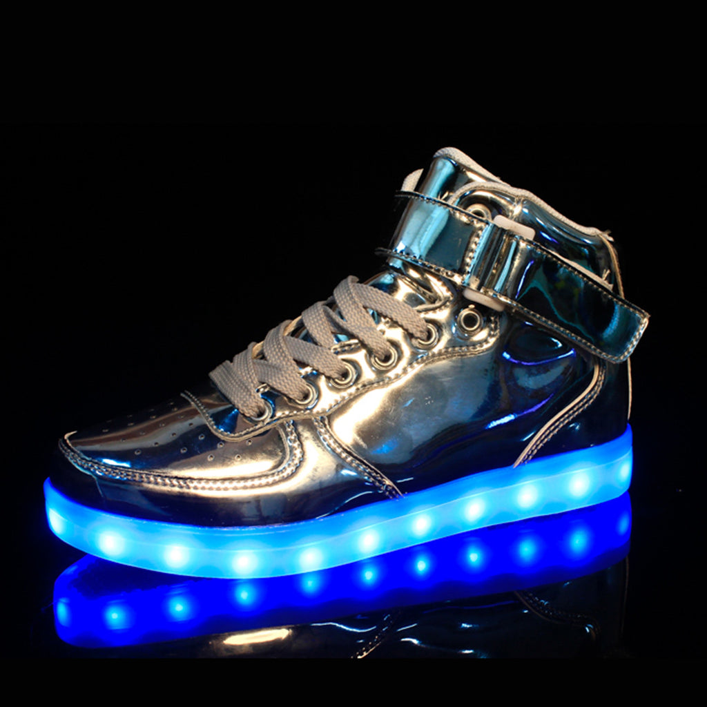 first rate c31e0 ead6d ... DoGeek Men Women Light up Shoes, 7 Colors Lights High Tops, Metalic  Gold ...