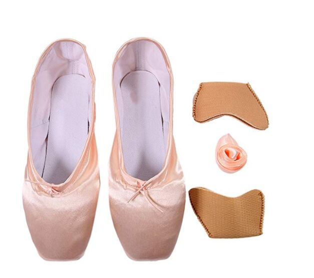 Ballet Ribbon and Pointe Shoe Elastic DoGeek Ballet Pointe Shoes Satin Ballet Shoes for Grirls//Womens//Ladies with Toe Pads