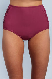 Ruched High Waisted - Red Plum - DM Fashion