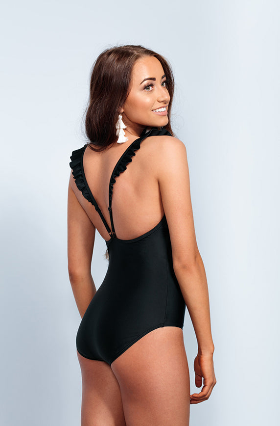 Ruffle V Back One Piece - Black - Restocked