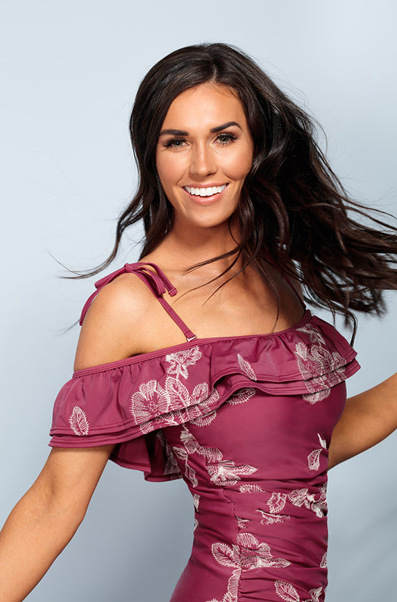 Off The Shoulder Ruched Double Ruffle Tankini Top - Red Plum Embroidery Floral