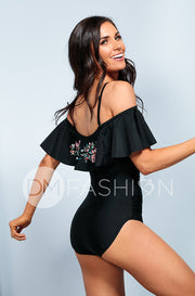 Off The Shoulder Ruffle Ruched One Piece - Black Embroidery Floral