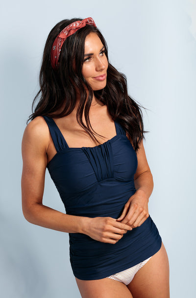 Ruched Bandeau Tankini Top - Navy - FINAL SALE