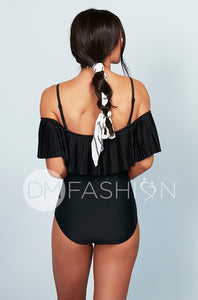 Off The Shoulder Pleated Ruched One Piece - Black