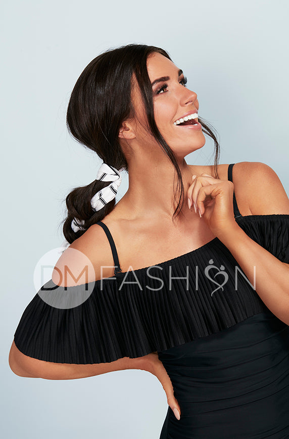 Off The Shoulder Black Pleated Ruched One Piece - FINAL SALE