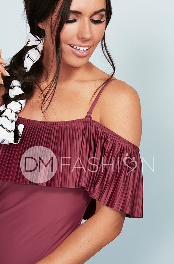 Off The Shoulder Pleated Ruffle One Piece - Red Plum