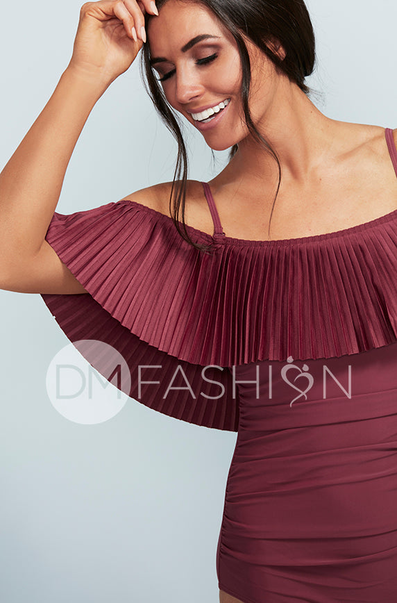 Off The Shoulder Red Plum Pleated Ruched One Piece - FINAL SALE