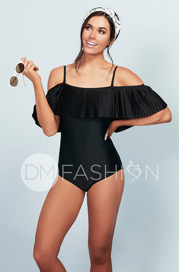 Off The Shoulder Pleated Ruffle One Piece - Black